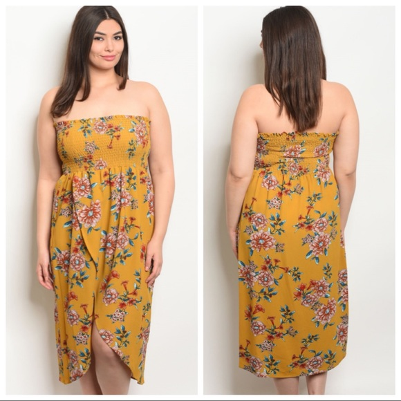 b834c4b00e7d36 NEW PLUS Mustard Floral Faux Wrap Sleeveless Dress